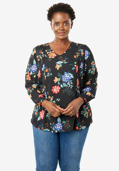 Pintucked V-Neck Blouse,