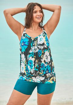 Blouson Tankini Top with Shirring by Swim 365,