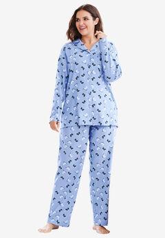 Classic Flannel Pajama Set by Dreams & Co.®, PLUM BLUE SCOTTIES