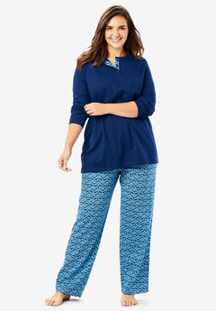 Henley PJ Set by Only Necessities®, EVENING BLUE LEAVES