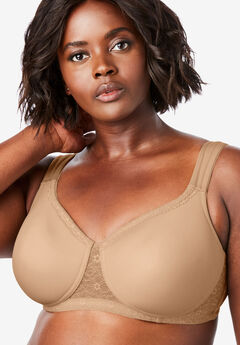 Lace Trim Microfiber Wireless T-Shirt Bra by Comfort Choice®, NUDE