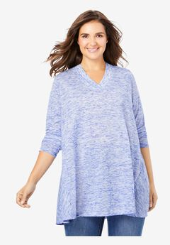 V-Neck Textured Trapeze Tunic,