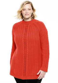 Pullover Mock Neck Cabled Sweater,