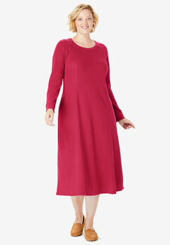 Thermal Knit A-Line Dress, CLASSIC RED