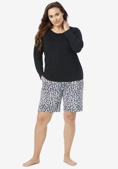 Print Pajama Shorts by Dreams & Co.®, HEATHER GREY ANIMAL