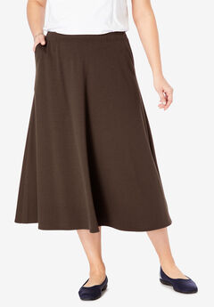 A-Line Ponte Skirt, CHOCOLATE