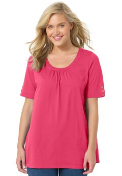 Perfect Shirred Scoopneck Button-Sleeve Tee,