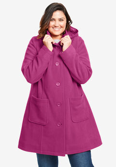 Hooded A-Line Fleece Coat, RASPBERRY
