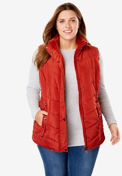 Reversible Nylon Faux Fur Vest,