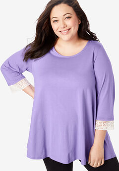 Crochet-Sleeve Tunic, SOFT LAVENDER