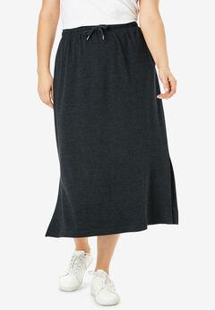 Sport Knit Side-Slit Skirt, HEATHER CHARCOAL