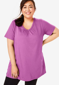 Perfect Shirred V-Neck Tunic,