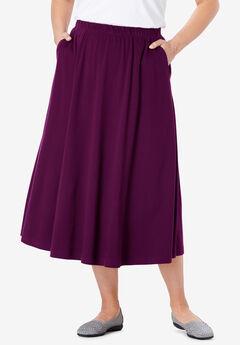7-Day Knit A-Line Skirt, DARK BERRY