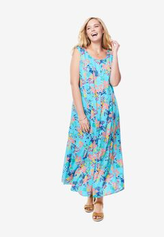 Scoopneck Button-Front Maxi Dress,
