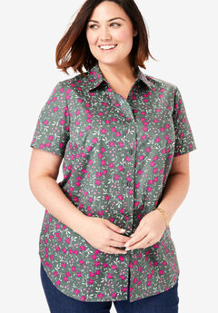 Perfect Short Sleeve Button Down Shirt, PINE DANCING FLORAL
