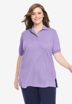 Elbow-Sleeve Tunic Polo Shirt,