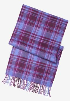 Plaid Fringed Scarf, PURPLE PLAID