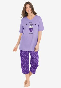 2-Piece Capri PJ Set by Dreams & Co.®, PLUM BURST DOT