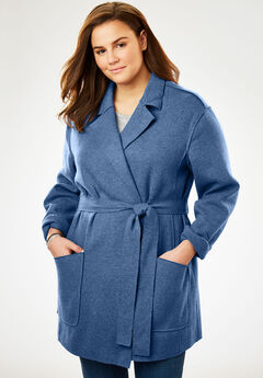 Lightweight Wool Shawl Coat, DUSTY INDIGO