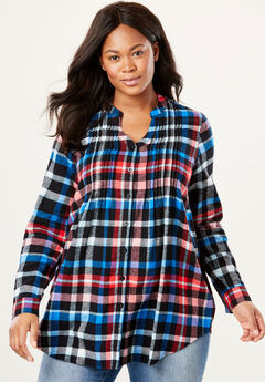 Pintucked Flannel Shirt, BLACK MULTI PLAID