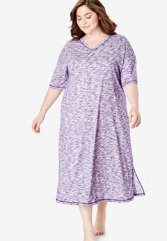Long Marled Sleepshirt by Dreams & Co.®, RICH VIOLET