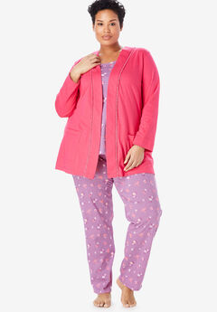 3-Piece Cotton Pajama Set by Only Necessities®, LIGHT ORCHID FLOWERS
