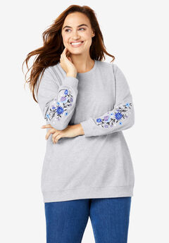 Embroidered Sweatshirt, HEATHER GREY FLORAL EMBROIDERY