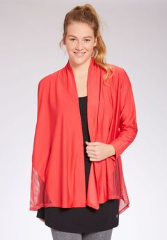 Open front waterfall cardigan by fullbeauty SPORT®,