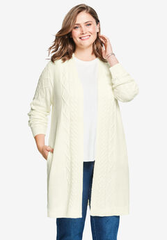 Open Front Cable Knit Cardigan, IVORY
