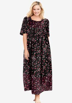 Mixed Print Long Lounger by Only Necessities®, BLACK FLORAL