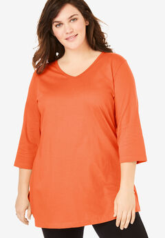 Perfect V-Neck Three-Quarter Sleeve Tunic, GRENADINE
