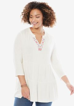 Embroidered Flounce Hem Tunic,