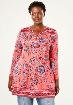 Split Neck Printed Tunic by Chelsea Studio®,