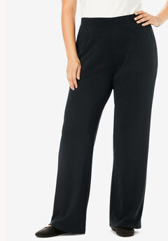 Wide Leg Ponte Knit Pant, BLACK