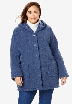 Hooded Berber Fleece Jacket, LIGHT INDIGO