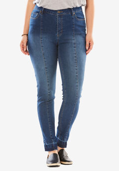 Stretch Front Seam Skinny Jean, MEDIUM STONEWASH SANDED