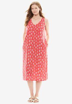 Side Slit V-Neck Midi Dress,