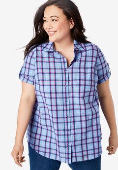 Short Sleeve Button Down Seersucker Shirt, FRENCH BLUE MULTI PLAID