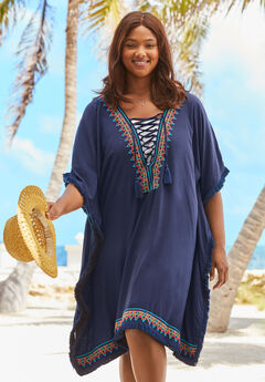 Lace-Up Caftan Cover Up,