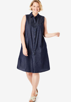 f8fe330e4f5 Sleeveless Shirtdress. Woman Within