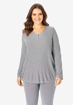 Long-Sleeve Rib Henley Sleep Tee,