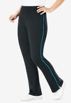 Stretch Cotton Side-Stripe Bootcut Pant, HEATHER CHARCOAL DEEP TEAL