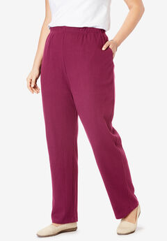 7-Day Knit Ribbed Straight Leg Pant, DEEP CRANBERRY