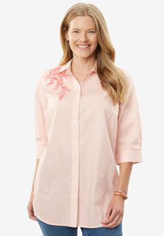 Printed Three-Quarter Sleeve Perfect Shirt,