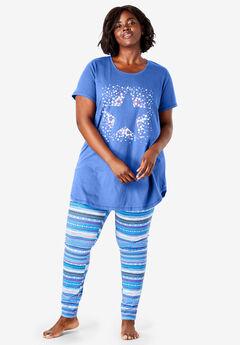 Graphic Tunic PJ Set, TRUE BLUE STARS