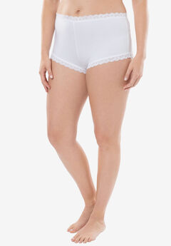 Comfort Choice® Lace-trim Cheeky Boyshort, WHITE