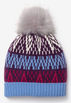 Fair Isle Pom-Pom Knit Beanie,