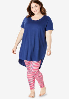 High-Low Tunic PJ Set by Dreams & Co.®, RADIANT PINK STRIPE