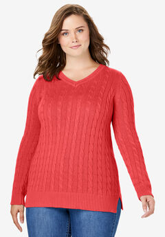 Cable Knit V-Neck Pullover Sweater, SOFT GERANIUM