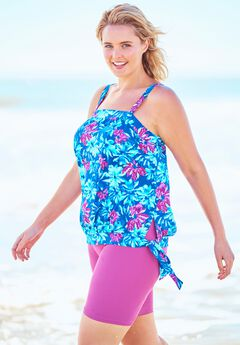 Blouson Tankini Top with Adjustable Straps ,